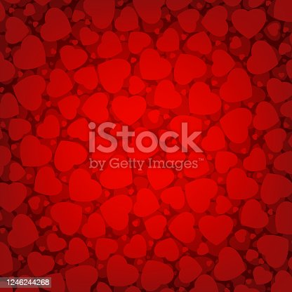 Red Valentine's day background with hearts. EPS 8 vector file included