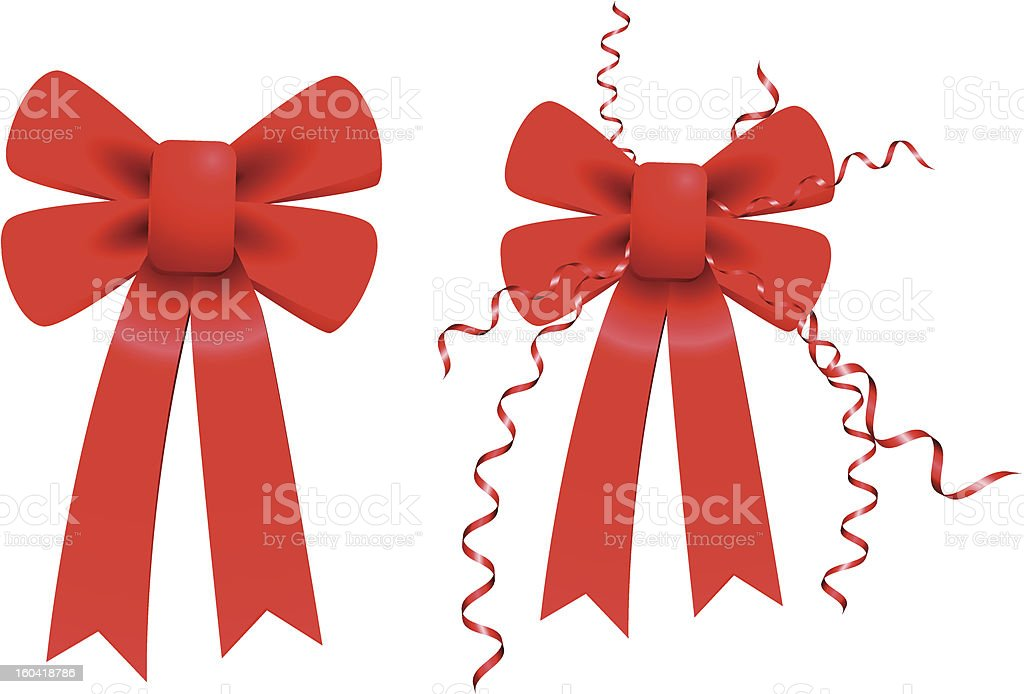 Red Valentine's Day Bow Ribbon Set royalty-free stock vector art