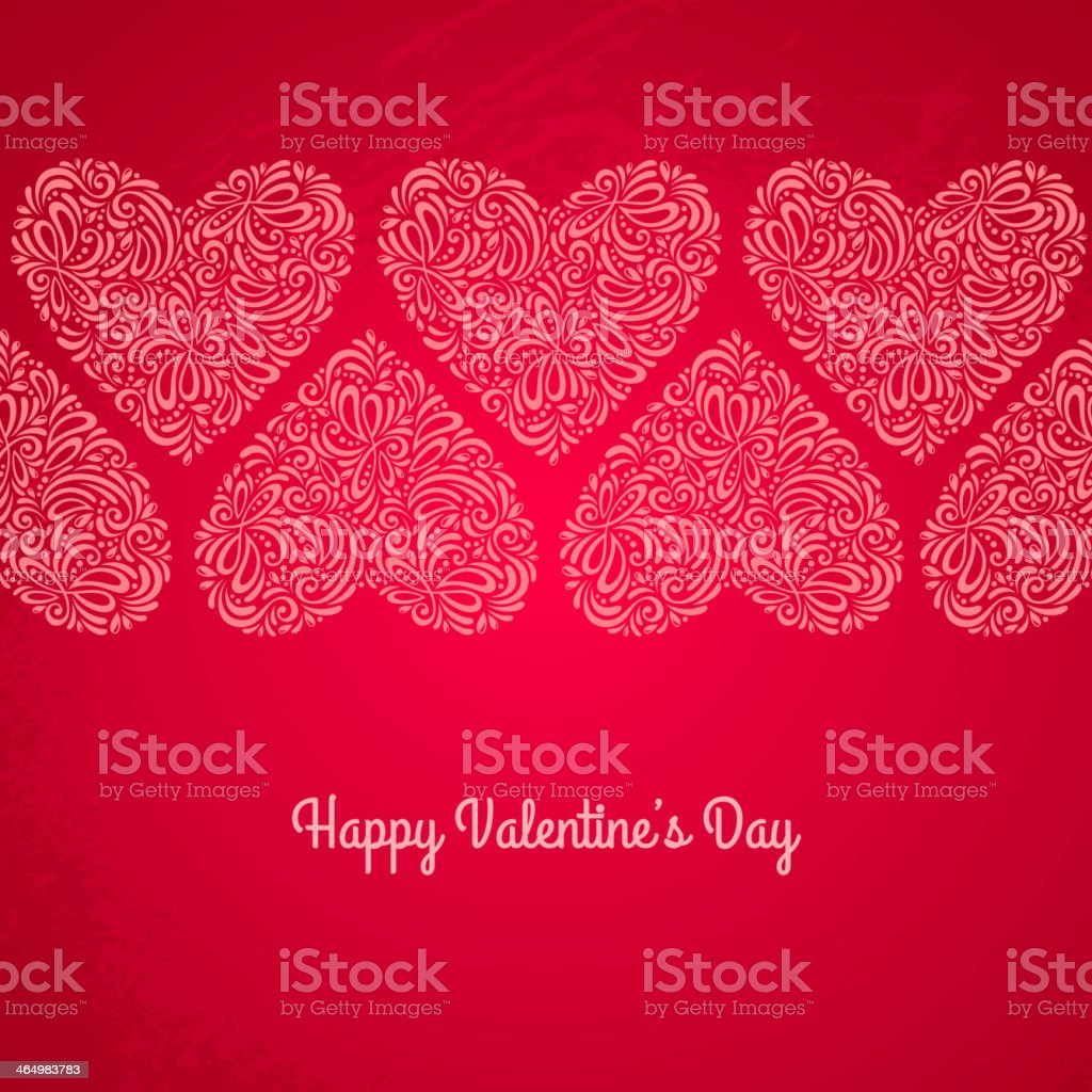 Red Valentines day card with hearts on textured background. royalty-free red valentines day card with hearts on textured background stock vector art & more images of art