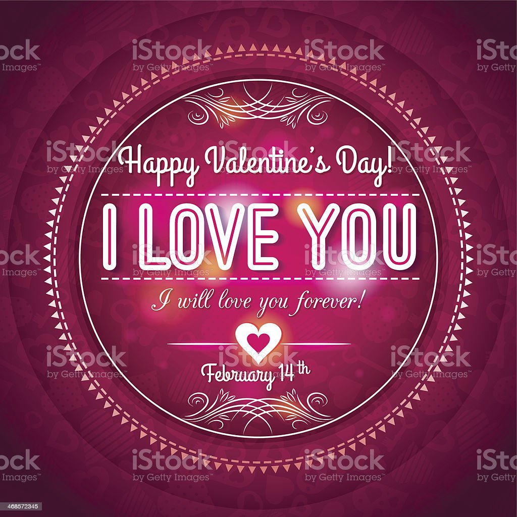 red valentines day greeting card  with  hearts and wishes text vector art illustration