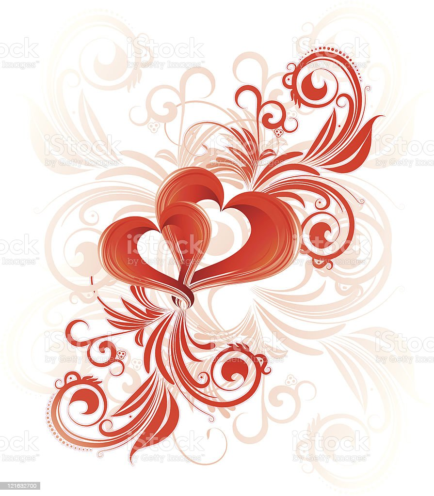 Red valentines heart with floral pattern royalty-free stock vector art