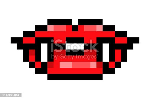 istock Red vampire lips with long fangs, black outline pixel art icon isolated on white background. 8 bit sexy woman half-open mouth symbol. Old school vintage retro slot machine/video game graphics. 1209834341