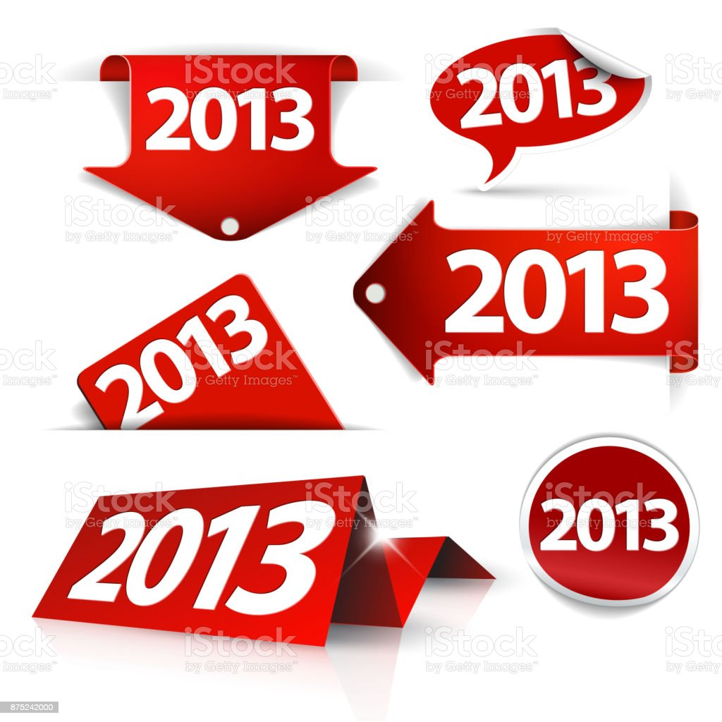 Red Vector 2013 Labels, stickers, pointers, tags vector art illustration