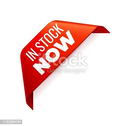 Red Vector Banner Ribbon on white background, corner ribbon. In Stock now