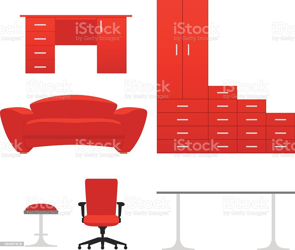 Red vector furniture set vector art illustration