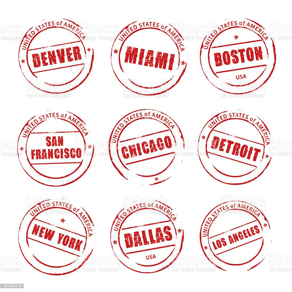 Red vector grunge stamp, American Cities Icons. vector art illustration