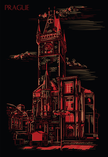 Red vector hand drawing Prague 6