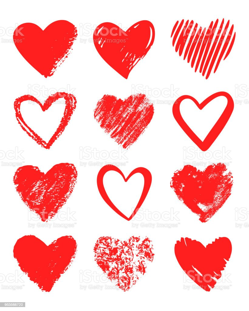 Red vector hand drawn set of different hearts. royalty-free red vector hand drawn set of different hearts stock illustration - download image now