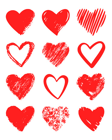 Red vector hand drawn set of different hearts. clipart