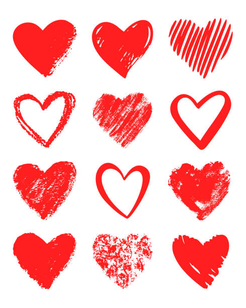 Red vector hand drawn set of different hearts. vector art illustration