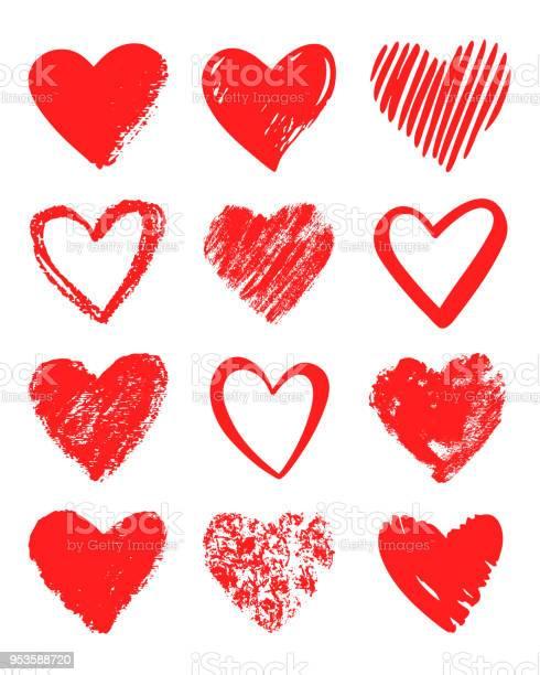 Red Vector Hand Drawn Set Of Different Hearts - Arte vetorial de stock e mais imagens de Abstrato