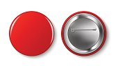 Red pin button, vector. Pin button set. Collection of realistic pin buttons. Red blank badge pin brooch isolated on white background. 3D vector style.  Web button.
