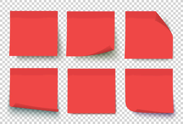 illustrazioni stock, clip art, cartoni animati e icone di tendenza di red vector post sticky notes. - post it