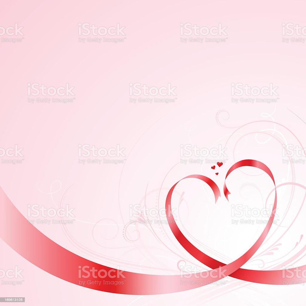 Red vector ribbons forming heart shapes vector art illustration