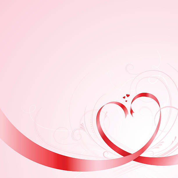Red vector ribbons forming heart shapes vector art illustration