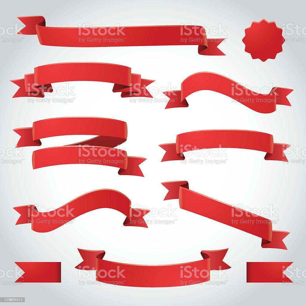 Red Vector Ribbons Set vector art illustration
