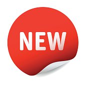 Red vector sticker text NEW