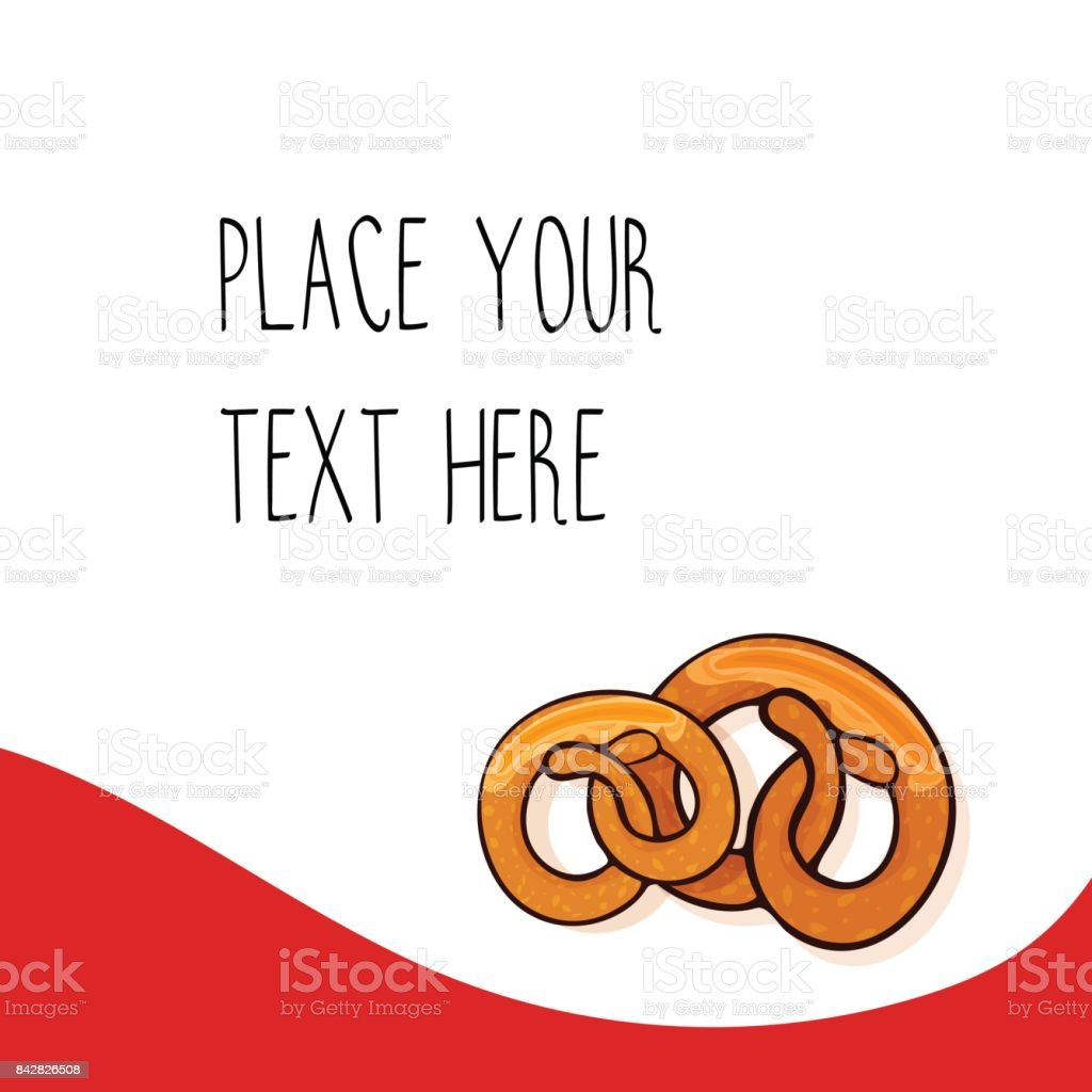 Red vector template with  pretzels for fast food business. vector art illustration