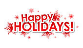 HAPPY HOLIDAYS red vector typography banner with snowflakes