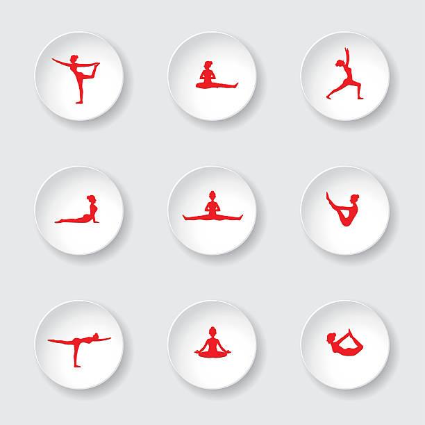 red vector yoga pose silhouettes on white button - mantra stock-grafiken, -clipart, -cartoons und -symbole