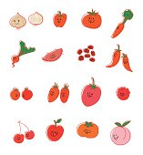 Vector illustration that depicted two or more red vegetable and fruit