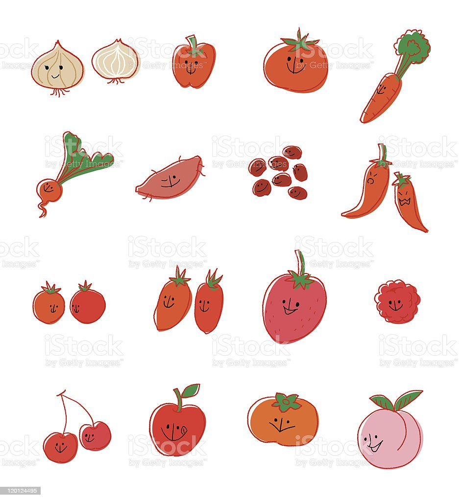 Red vegetable and fruit vector art illustration