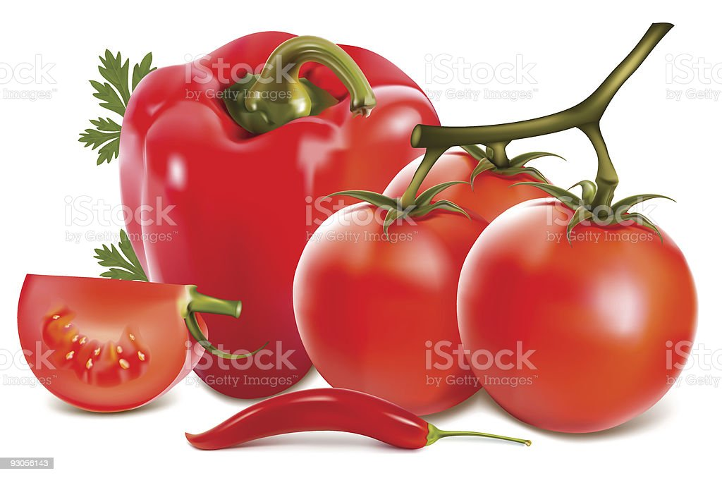 Red vegetables with parsley. royalty-free red vegetables with parsley stock vector art & more images of chili pepper