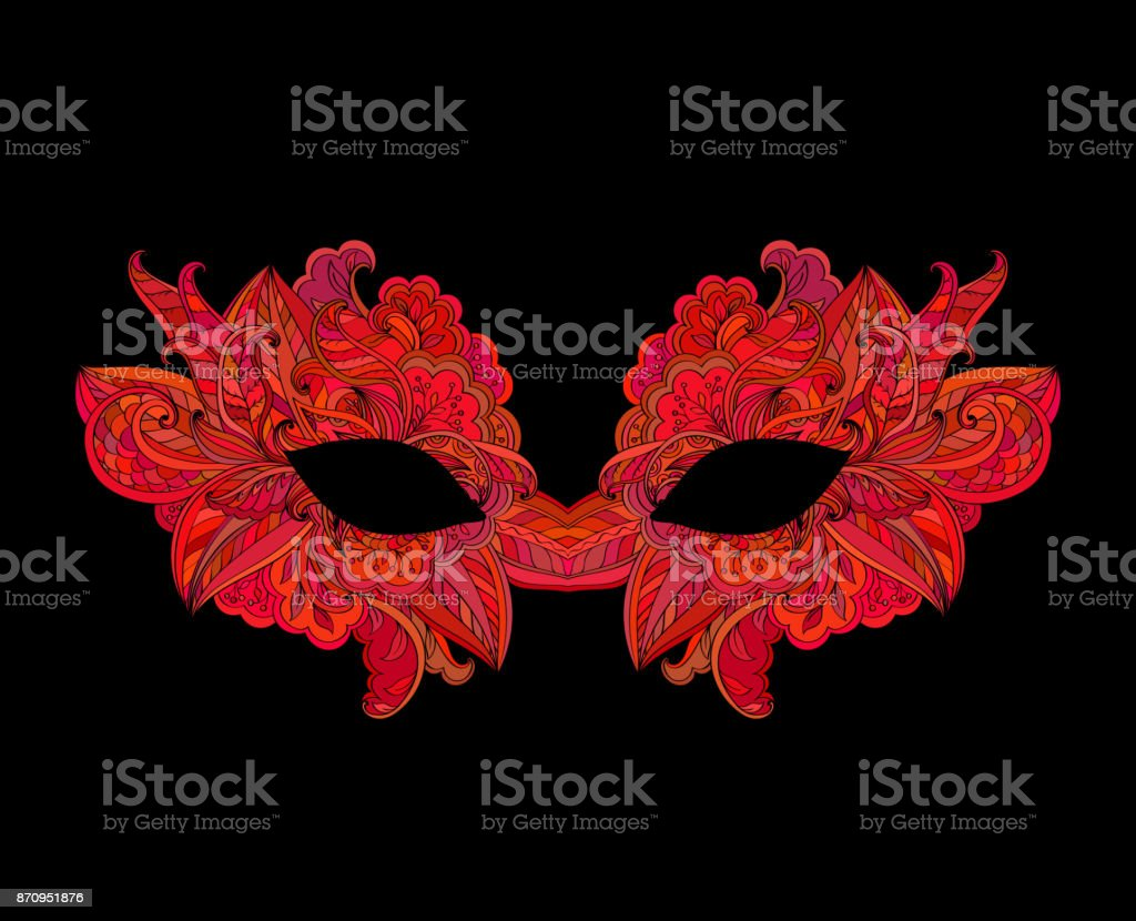 Red venetian carnival mask with flower vector art illustration