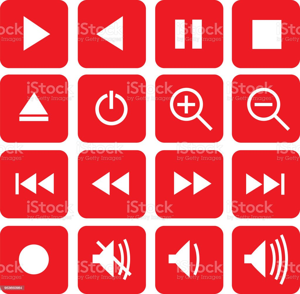 Red Video Control Icons Stock Vector Art More Images Of Arrow