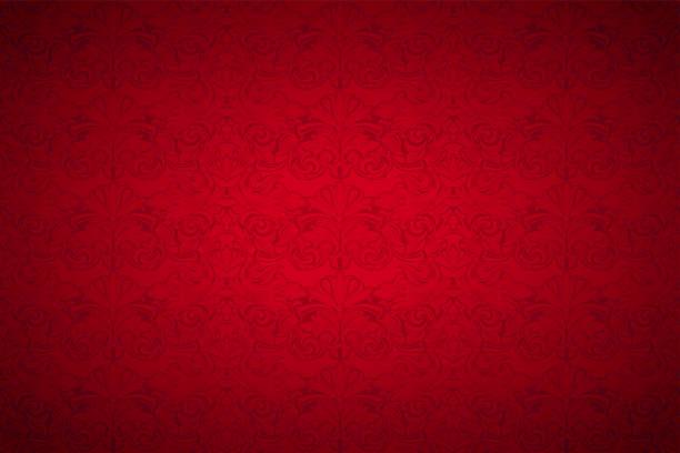 bildbanksillustrationer, clip art samt tecknat material och ikoner med röd vintage bakgrund, royal med klassiska barock mönster - red silk