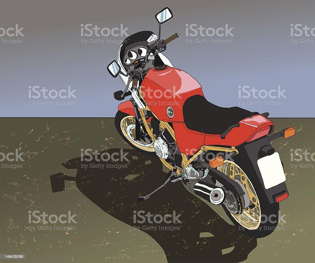 Red Vintage Bike vector art illustration