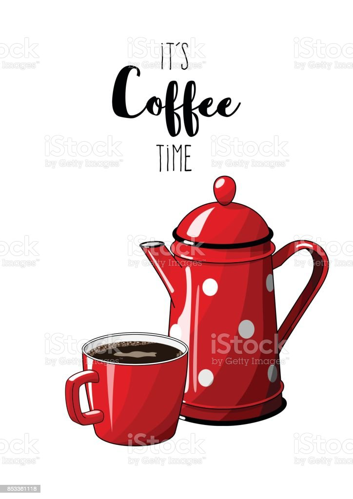red vintage coffee pot with cup on white background with text its rh istockphoto com vintage coffee cup clipart vintage coffee cup clipart