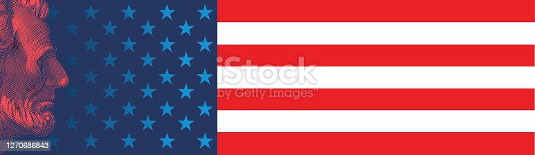 Monochrome red engraved vintage drawing of Abraham Lincoln statue side view illustration isolated on United states of America flag wide background for Lincoln day celebration