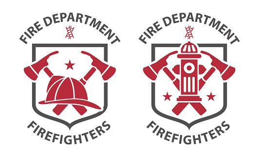 Red vintage fireman pictograms
