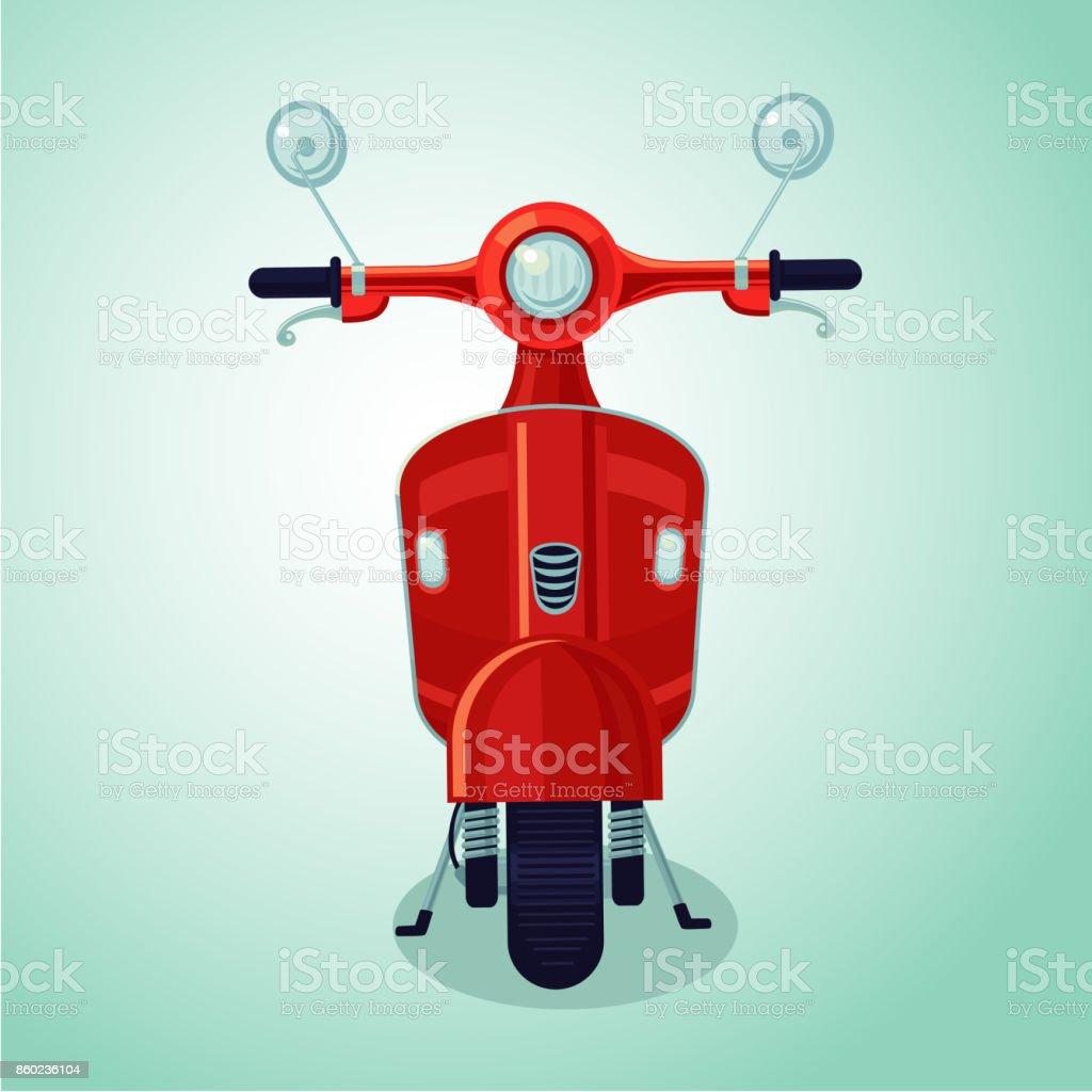 Red vintage moto scooter. Isolated cartoon illustration vector art illustration