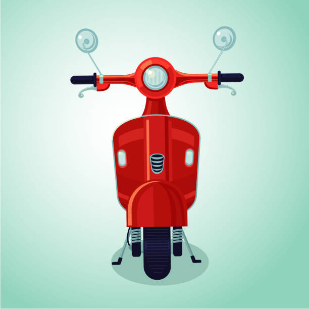 rote vintage moto scooter. isolierte cartoon illustration - moped stock-grafiken, -clipart, -cartoons und -symbole