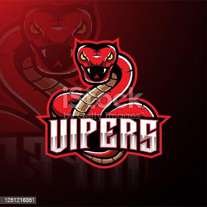 Illustration of Red viper snake mascot