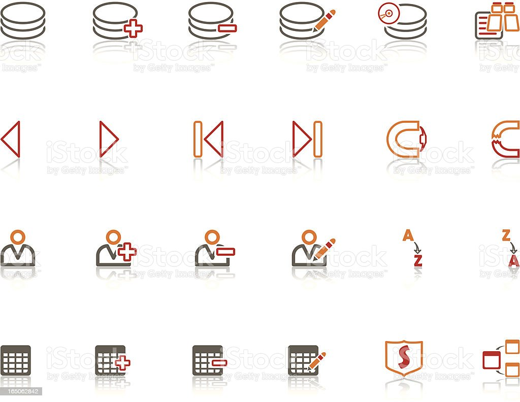 Red vs Orange Data Base Icon Set royalty-free stock vector art