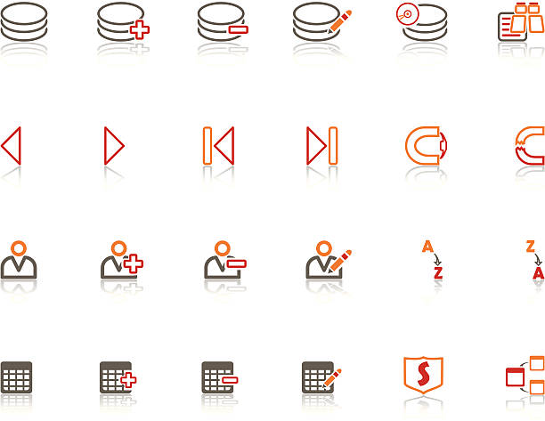 Red vs Orange Data Base Icon Set vector art illustration