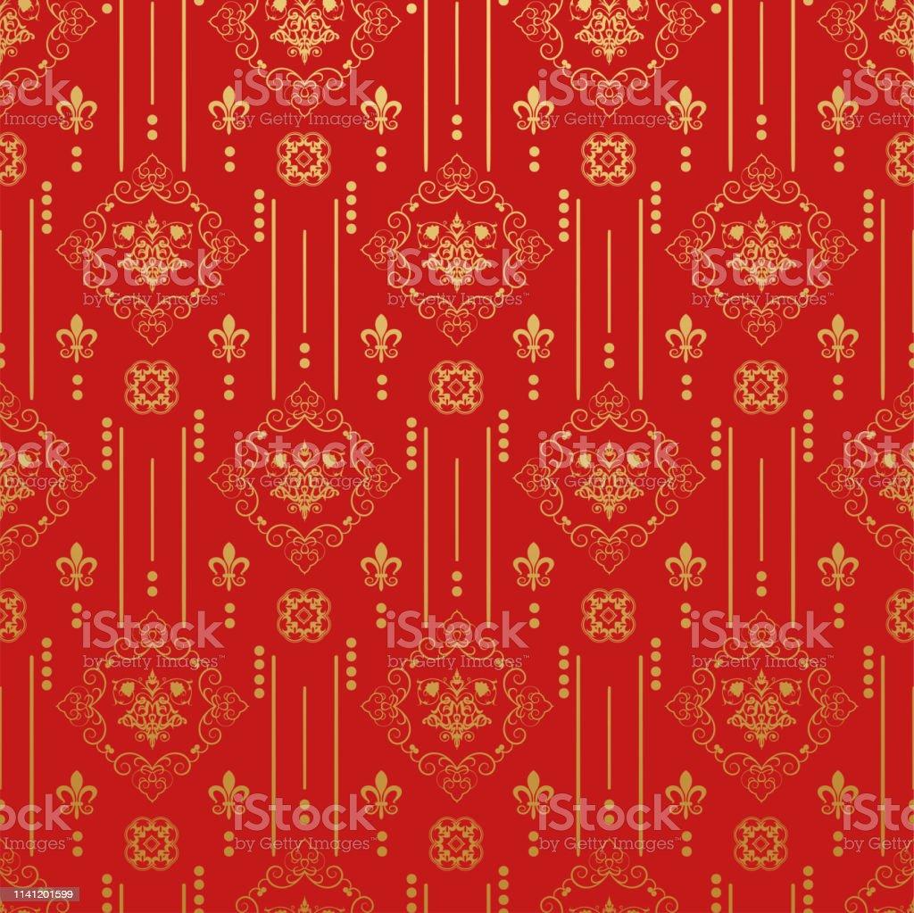 中国風の赤い壁紙パターンベクターアート お祝いのベクターアート素材や画像を多数ご用意 Istock