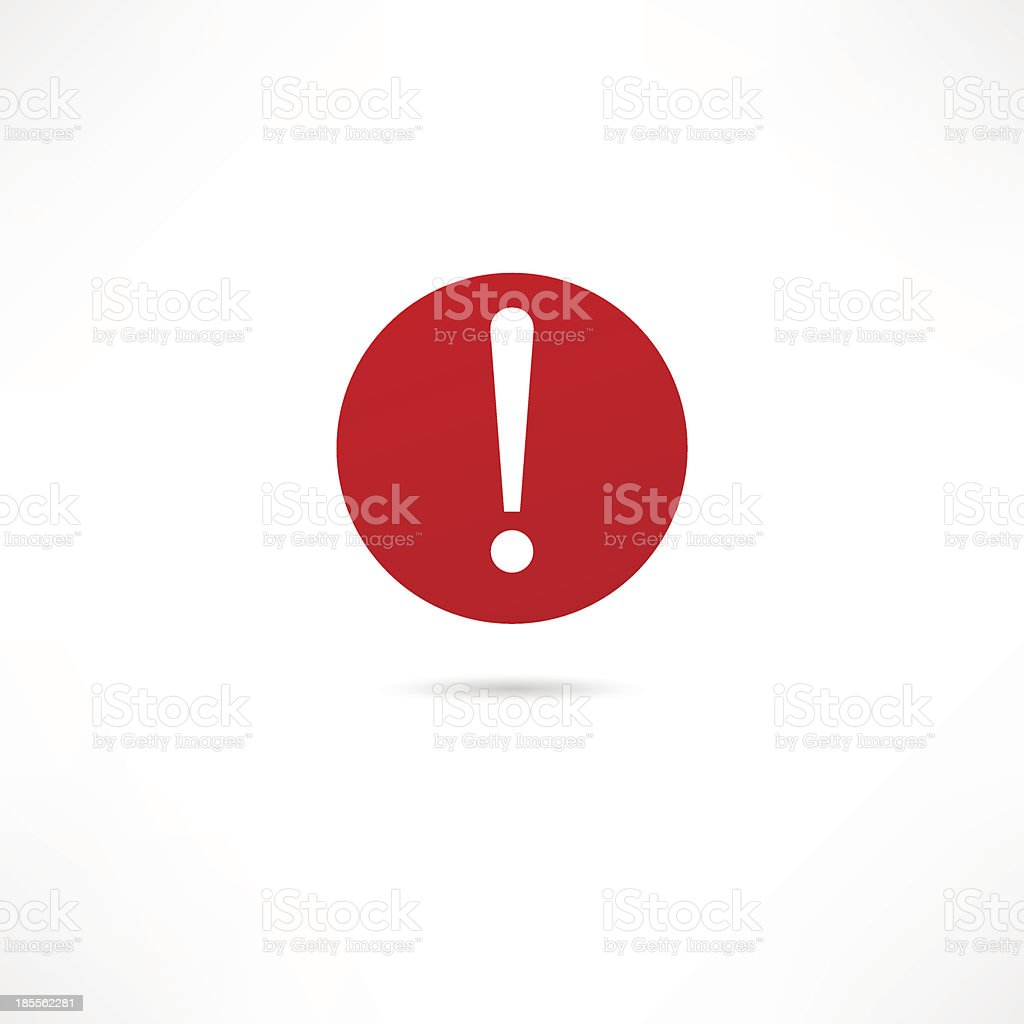 A red warning icon on white background vector art illustration