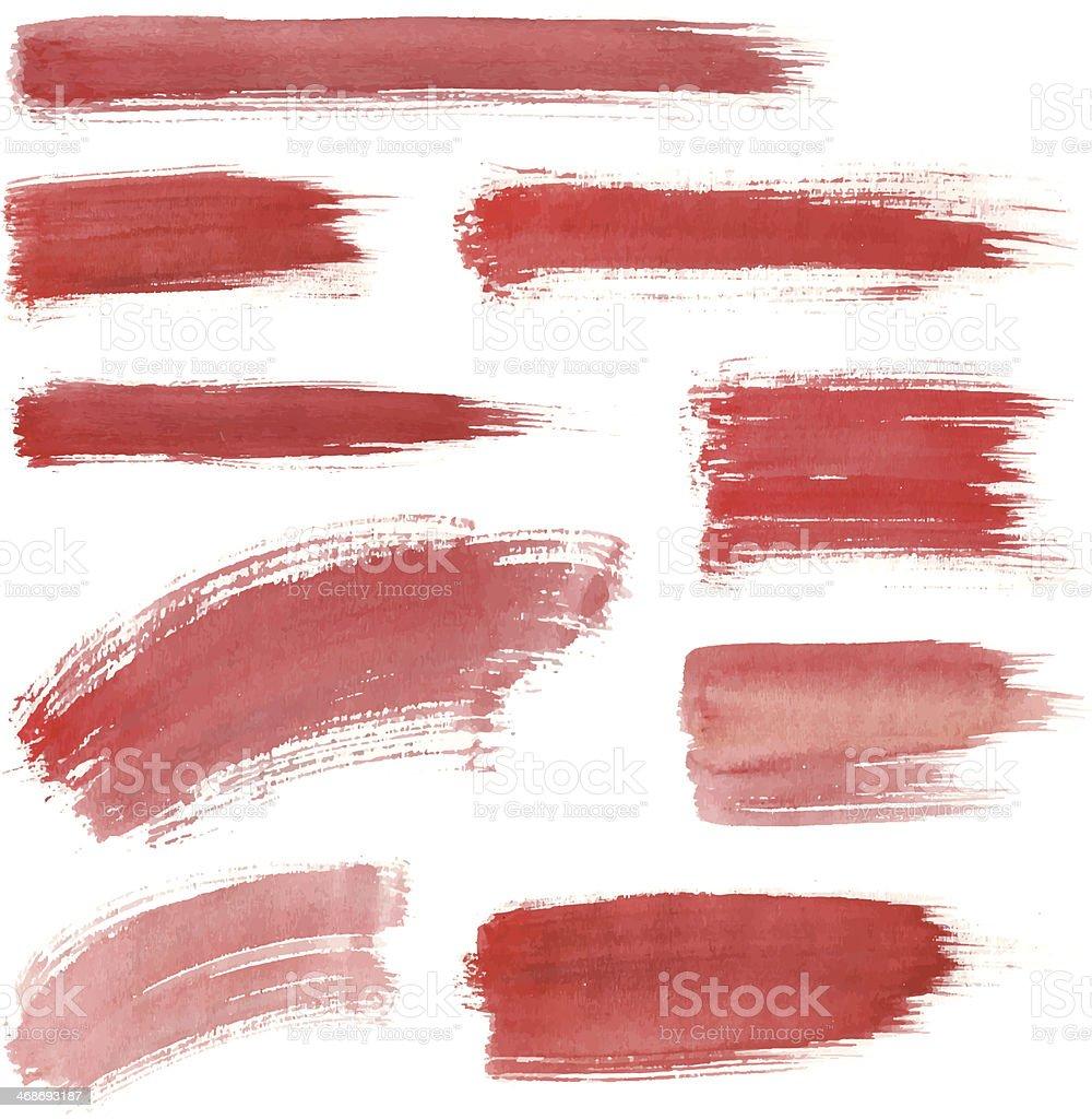 Red Water Color Stroke Set vector art illustration