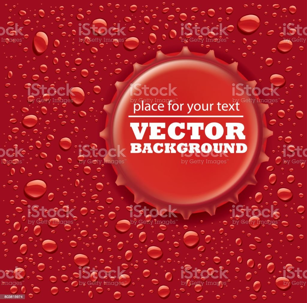 gotas de água vermelha com tampa de garrafa - ilustração de arte em vetor