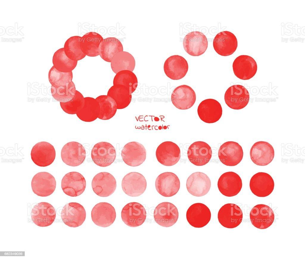 Red watercolor circles set red watercolor circles set - stockowe grafiki wektorowe i więcej obrazów abstrakcja royalty-free
