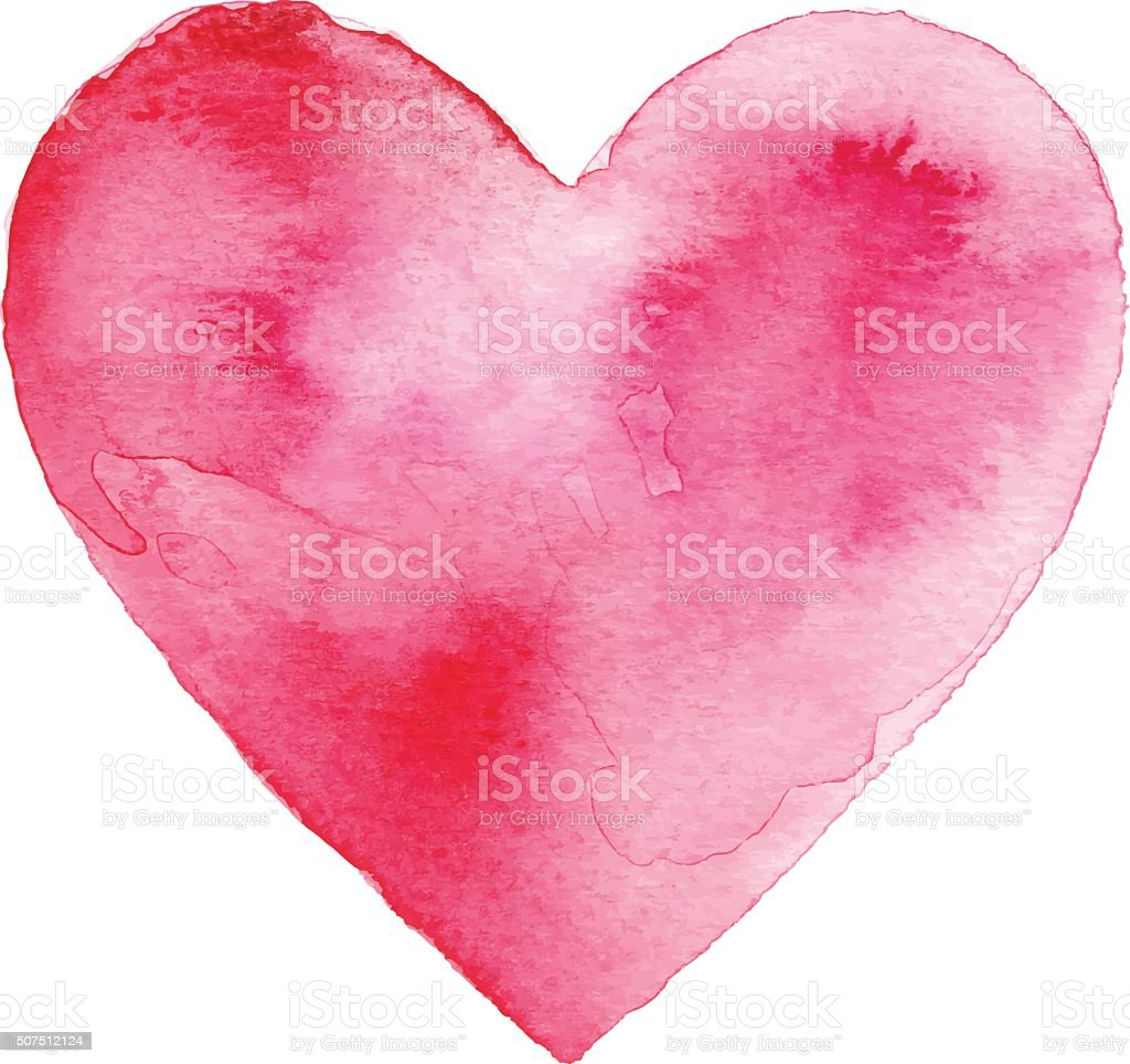 Red Watercolor Heart royalty-free red watercolor heart stock illustration - download image now