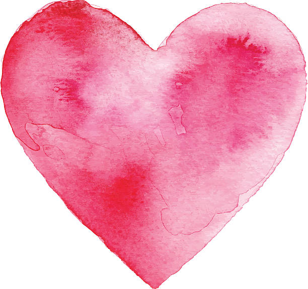 Red Watercolor Heart vector art illustration