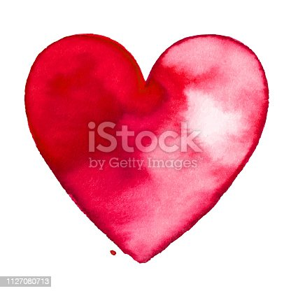 istock Red watercolor painted heart 1127080713