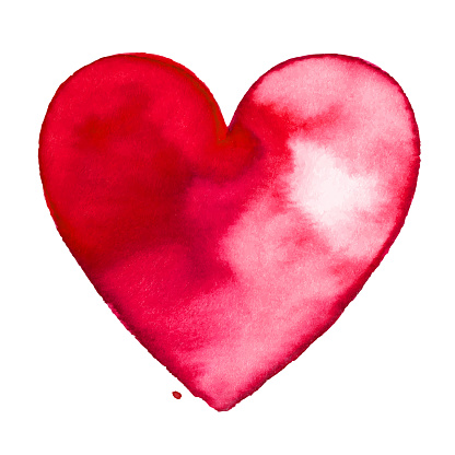 Red watercolor painted heart