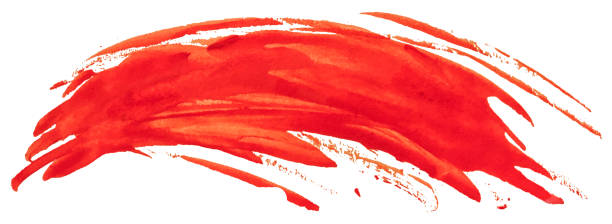 ilustrações, clipart, desenhos animados e ícones de curso vermelho da escova da mancha da pintura da textura da aguarela. ilustração do vetor eps10. - amostra de cor