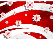 Red wavy Christmas background with snowflakes. Vector greeting card design